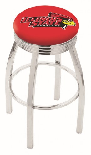 Illinois State Redbirds Chrome Swivel Barstool with Ribbed Accent Ring