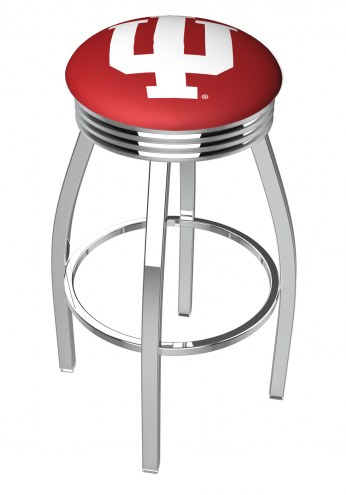 Indiana Hoosiers Chrome Swivel Barstool with Ribbed Accent Ring
