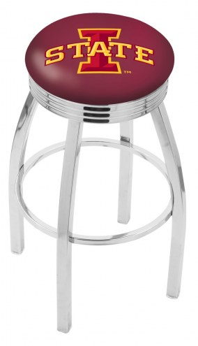 Iowa State Cyclones Chrome Swivel Barstool with Ribbed Accent Ring