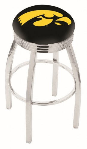 Iowa Hawkeyes Chrome Swivel Barstool with Ribbed Accent Ring