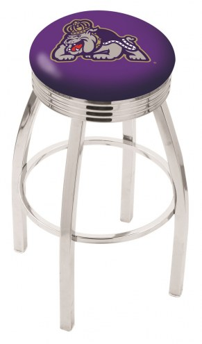 James Madison Dukes Chrome Swivel Barstool with Ribbed Accent Ring