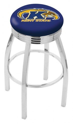 Kent State Golden Flashes Chrome Swivel Barstool with Ribbed Accent Ring
