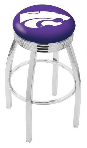 Kansas State Wildcats Chrome Swivel Barstool with Ribbed Accent Ring