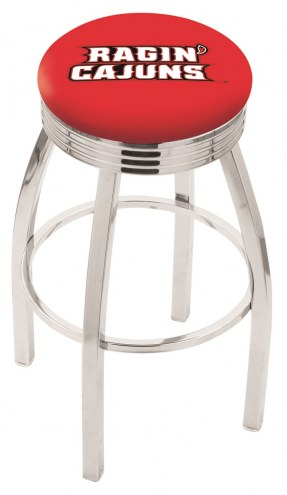 Louisiana Lafayette Ragin' Cajuns Chrome Swivel Barstool with Ribbed Accent Ring