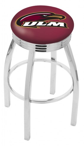 Louisiana-Monroe Warhawks Chrome Swivel Barstool with Ribbed Accent Ring