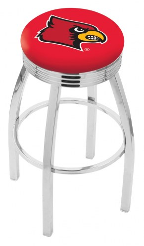 Louisville Cardinals Chrome Swivel Barstool with Ribbed Accent Ring