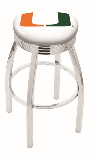 Miami Hurricanes Chrome Swivel Barstool with Ribbed Accent Ring
