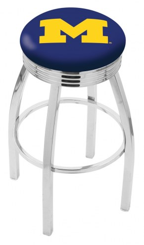 Michigan Wolverines Chrome Swivel Barstool with Ribbed Accent Ring