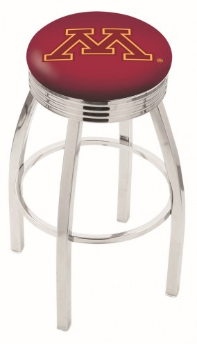 Minnesota Golden Gophers Chrome Swivel Barstool with Ribbed Accent Ring