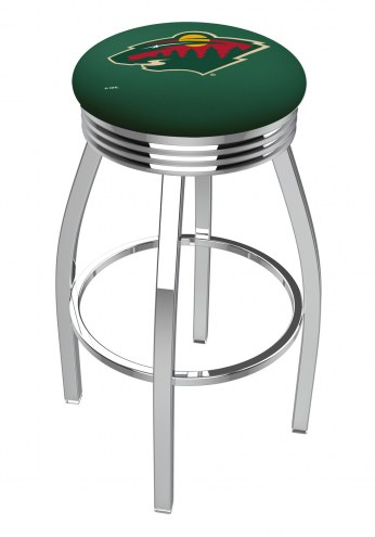 Minnesota Wild Chrome Swivel Barstool with Ribbed Accent Ring