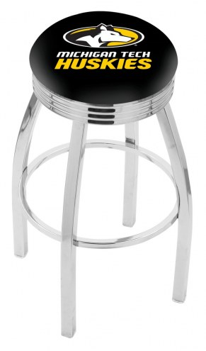 Michigan Tech Huskies Chrome Swivel Barstool with Ribbed Accent Ring
