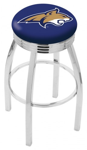 Montana State Bobcats Chrome Swivel Barstool with Ribbed Accent Ring