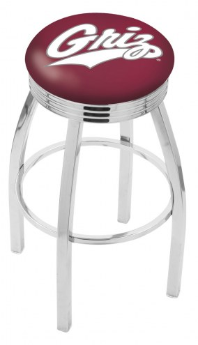 Montana Grizzlies Chrome Swivel Barstool with Ribbed Accent Ring