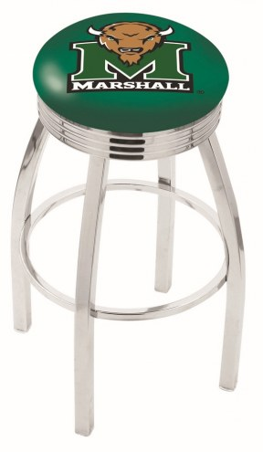 Marshall Thundering Herd Chrome Swivel Barstool with Ribbed Accent Ring
