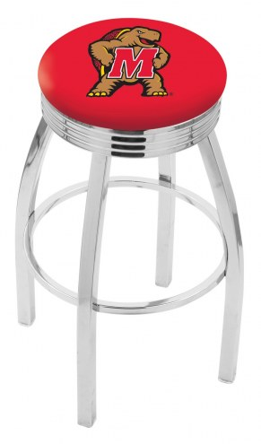 Maryland Terrapins Chrome Swivel Barstool with Ribbed Accent Ring