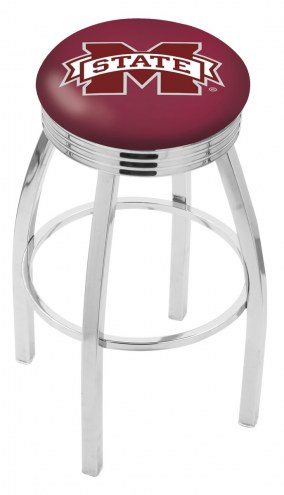 Mississippi State Bulldogs Chrome Swivel Barstool with Ribbed Accent Ring