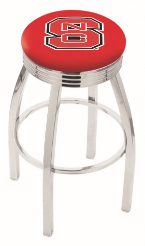 North Carolina State Wolfpack Chrome Swivel Barstool with Ribbed Accent Ring