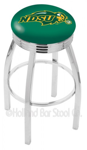 North Dakota State Bison Chrome Swivel Barstool with Ribbed Accent Ring