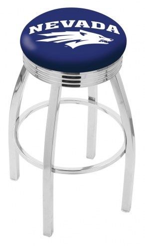 Nevada Wolf Pack Chrome Swivel Barstool with Ribbed Accent Ring