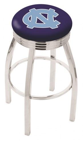 North Carolina Tar Heels Chrome Swivel Barstool with Ribbed Accent Ring