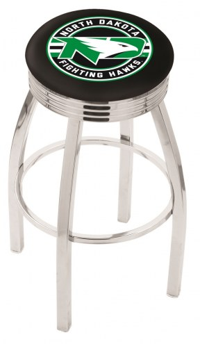 University of North Dakota Chrome Swivel Barstool with Ribbed Accent Ring