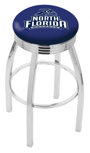 North Florida Ospreys Chrome Swivel Barstool with Ribbed Accent Ring