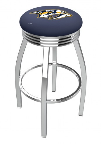 Nashville Predators Chrome Swivel Barstool with Ribbed Accent Ring