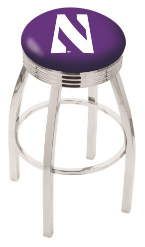 Northwestern Wildcats Chrome Swivel Barstool with Ribbed Accent Ring