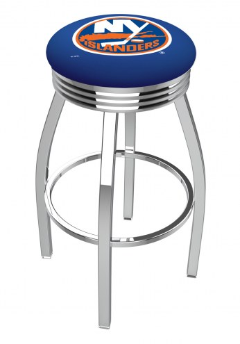New York Islanders Chrome Swivel Barstool with Ribbed Accent Ring