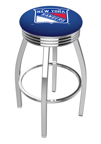 New York Rangers Chrome Swivel Barstool with Ribbed Accent Ring
