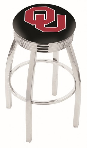 Oklahoma Sooners Chrome Swivel Barstool with Ribbed Accent Ring