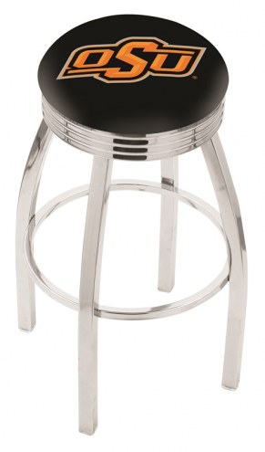 Oklahoma State Cowboys Chrome Swivel Barstool with Ribbed Accent Ring