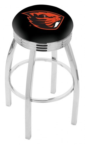 Oregon State Beavers Chrome Swivel Barstool with Ribbed Accent Ring