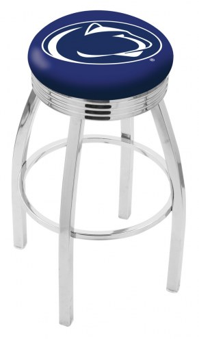 Penn State Nittany Lions Chrome Swivel Barstool with Ribbed Accent Ring