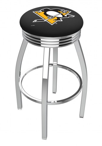 Pittsburgh Penguins Chrome Swivel Barstool with Ribbed Accent Ring
