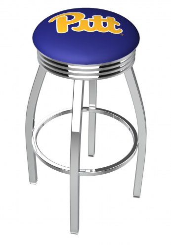 Pittsburgh Panthers Chrome Swivel Barstool with Ribbed Accent Ring