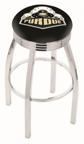 Purdue Boilermakers Chrome Swivel Barstool with Ribbed Accent Ring