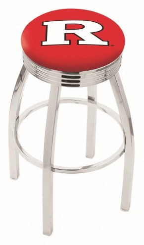 Rutgers Scarlet Knights Chrome Swivel Barstool with Ribbed Accent Ring