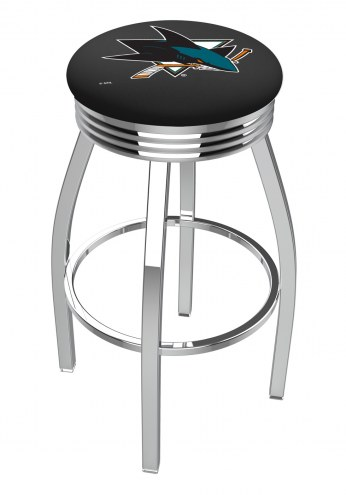 San Jose Sharks Chrome Swivel Barstool with Ribbed Accent Ring