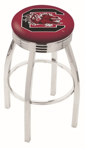 South Carolina Gamecocks Chrome Swivel Barstool with Ribbed Accent Ring