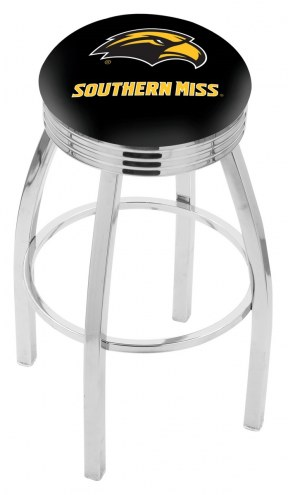 Southern Mississippi Golden Eagles Chrome Swivel Barstool with Ribbed Accent Ring