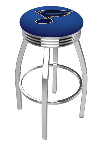 St. Louis Blues Chrome Swivel Barstool with Ribbed Accent Ring