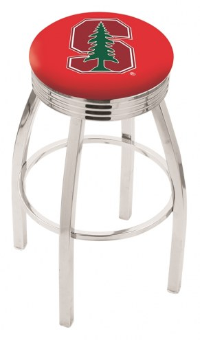 Stanford Cardinal Chrome Swivel Barstool with Ribbed Accent Ring