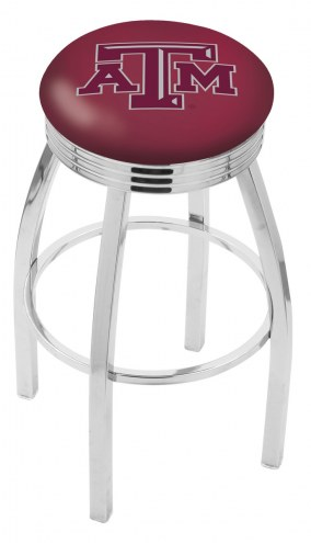 Texas A&M Aggies Chrome Swivel Barstool with Ribbed Accent Ring
