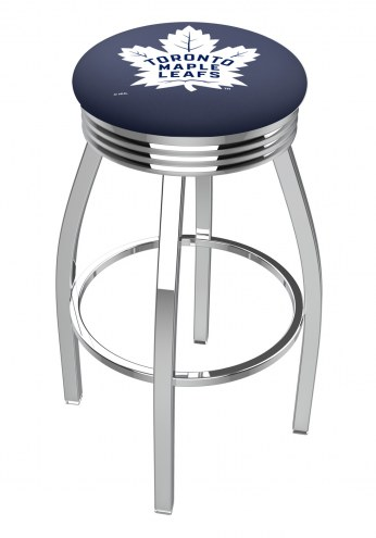 Toronto Maple Leafs Chrome Swivel Barstool with Ribbed Accent Ring