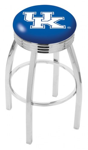 Kentucky Wildcats Chrome Swivel Barstool with Ribbed Accent Ring