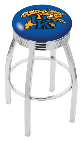 Kentucky Wildcats NCAA Chrome Swivel Barstool with Ribbed Accent Ring