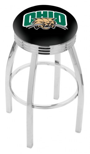 Ohio Bobcats Chrome Swivel Barstool with Ribbed Accent Ring