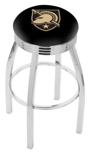 Army Black Knights Chrome Swivel Barstool with Ribbed Accent Ring