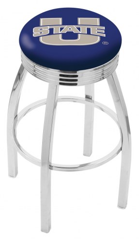 Utah State Aggies Chrome Swivel Barstool with Ribbed Accent Ring